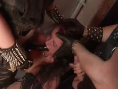 Busty brunette adrianna nicole tied up and fucked hard by two men