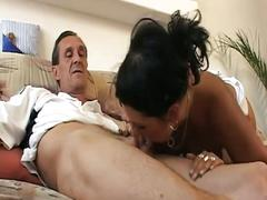 Lucky old fart banging his wife and a sexy young girl