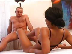 Brunette fetish girl fucked hard by a hot dude