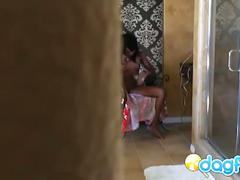 Hidden camera spying on hot black babe masturbating