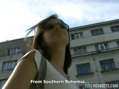 Horny czech cutie romana sucking cock in the park