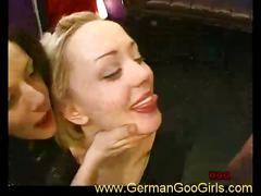 brunette, cumshot, european, black hair, chick, cum in mouth, cum swallow, facial, german, messy facial, platinum blonde, reality
