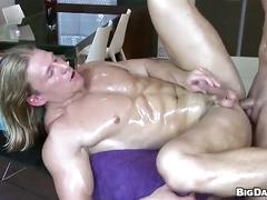 Muscled hunks oily in sizzling hot anal attack queer massage