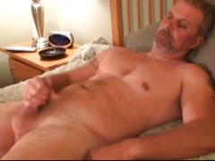 Hairy daddy spurts cum in this show