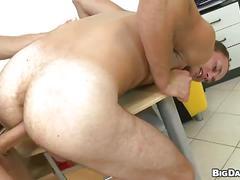 Cum starving amateur junkies bareback anal shoving on table