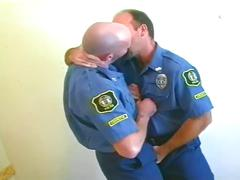 Iron hard gay bear police daddies hole drilling spunk session