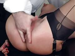 Pussy stretching and cream pie in stockings