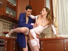 Hot brunette milf opens pussy to entice young stud for fucking