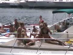 Hot amateur college girls party naked on boat