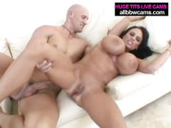 Lissa sucks and fucks cock while huge tits bounce