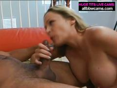 Big tit blonde milf sucks and fucks black guy