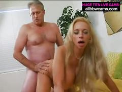 Mature blonde milf with massive tits sucks and fucks
