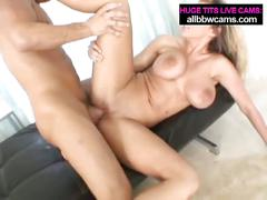 Busty blonde babe rides his hard cock