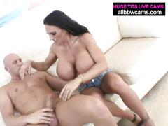 Lissa lipps sucks cock shows massive breasts