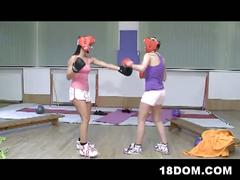 Femdom teen boxers dominate the referee