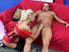 Huge tits milf in stockings titty fuck and pussy pounding with cumshot