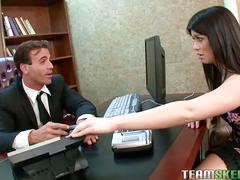Brunette teen ashlyn rae sucks and fucks her boss