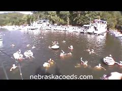 Hot college babes topless dancing on boat