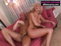 Hot big tits blonde sucks and fucks with facial