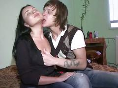 Hot young couple making passionate love