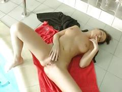 Hot big tit brunette fingers pussy by pool