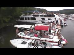 Hot college coed lesbians pussy fingering on boat