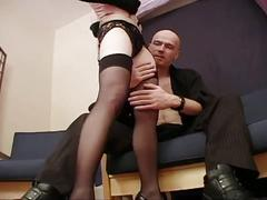 Luscious brunette slut in stockings riding big cock in wet pussy