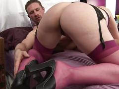 Amateur brunette in stockings gets pussy toyed fingered and fucked