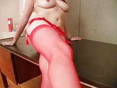 Hot busty brunette in lingerie gets licked and fucked