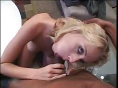 Blonde whore was born to suck black dick