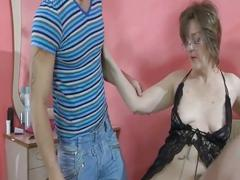 Mature milf sucks and fucks young guy