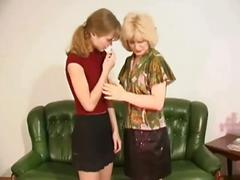 Lesbian teen takes care of blonde mature lesbian