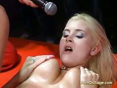 Big tits lesbians licking pussy on stage and toying