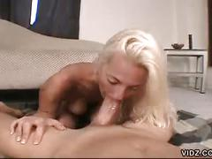 Sexy blonde chick bends over for cock