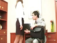 Naughty brunette teen secretary no holds barred office fucking