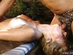 Pretty blonde bitch fucks stranger outdoors