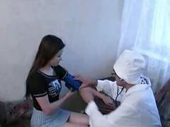 Brunette teen russian slut getting naughty with nasty doctor