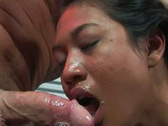 Asian girl lyla lei dances and gives him a blowjob