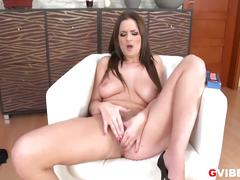 Busty brunette walleria uses a vibrating cock ring to masturbate