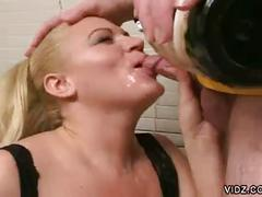 Busty blonde gets champagne and cock in her mouth