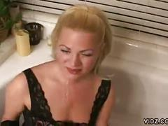 blowjob, busty, deepthroat, face fucking, platinum blonde