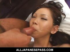 Japanese cutie mimi sucks his cock and gets drilled