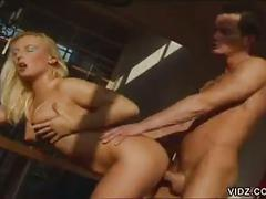 Stunning blonde whore riding big cock under horny light of sun
