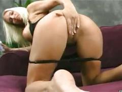 Big boobies horny blonde slut caresses her shaved twat in solo