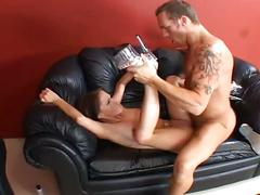 Nasty cock eating cum starving brunette hardcore pussy assault