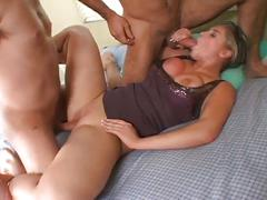 Sexy chick double penetrated by two big hard cocks
