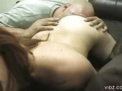 Luscious redhead bitch gets pampered on couch