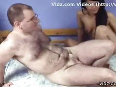 Young brunette banged by older hairy guy