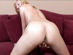 Cute blonde fingers pussy and then gets pounded