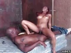 Young naughty ebony whore serving gigantic black cock